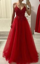 Spaghetti V-neck Tulle Sleeveless Floor-length A Line Formal Dress with Beading and Ruffles