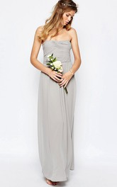 Sheath Ankle-Length Ruched Strapless Chiffon Bridesmaid Dress With Straps