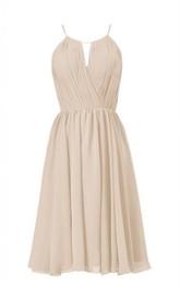 Spaghetti-strap Chiffon Ruched Knee-length Dress With Zipper