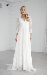 A-line Elegant Long Sleeve Lace Wedding Gown With V-neck And Deep V-back