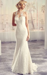 Scoop-neck Sleeveless Sheath Wedding Dress With Appliques And Keyhole