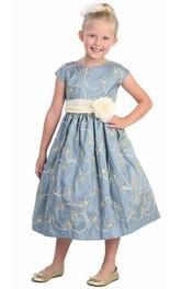 Cap-Sleeve Embroidery Floral Tea-Length Flower Girl Dress