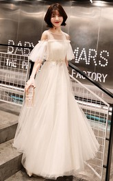 Off-the-shoulder Tulle Knee-length Floor-length Prom Dress With Appliques