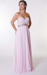 Sweetheart jeweled long Prom Dress With Corset Back