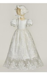 Fancy Puff Sleeve Christening Dress With Lace Appliques