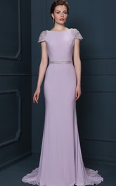 Jersey Cap-sleeve Sheath Dress With Beading And Low-V Back