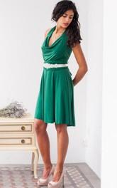 Halter Jersey Midi-Length Short Satin Cowl Dress
