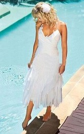 Halter Chiffon  Sleeveless Wedding Gown