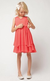 Tiered Satin Sash Pleated Strapped Chiffon Flower Girl Dress