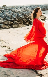 V-neck Long Sleeve Pleated Ruched Ruffled Maternity Dress