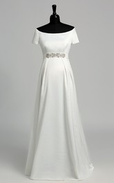 Off-the-shoulder Short Sleeve Empire Maternity Beading Ruffles Wedding Dress