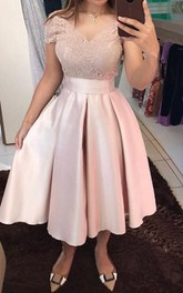 V-neck Satin Lace Short Sleeve Tea-length Homecoming Dress with Bow and Ruffles