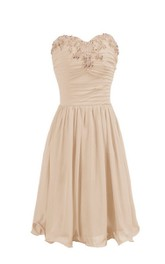 Sweetheart Chiffon short A-line Bridesmaid Dress With Beading