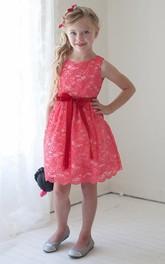 Lace Layered Short-Midi-Slit Flower Girl Dress