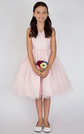 Layered V-Neckline Tea-Length Satin Flower Girl Dress