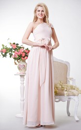 Chiffon Bows One-Shoulder Greek-Inspire Floor-Length Dress