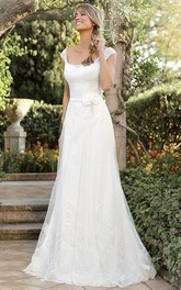 Cap Square-neck A-line Wedding Dress  Flower And Appliques