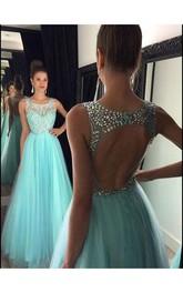Rhinestone Es Princess A-Line Floor-Length Gown