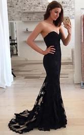 Mermaid Sleeveless Lace Simple Zipper Evening Dress