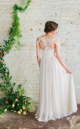 Floor-Length Appliqued Bridal A-Line Sweetheart Chiffon Gown