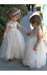 A-Line Strapped Sleeveless Sequined Glamorous Flower Girl Dress