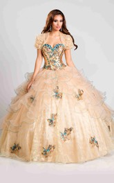 Sweetheart Organza Ruched Beaded Quinceanera Dress With Ruffle And  cape