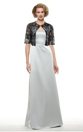 Elegant Satin Sheath V-Neck Floor Length Dress with Bolero