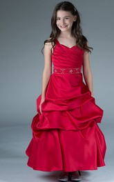 Ruffled Rhinestone Waist Taffeta V-Neckline Flower Girl Dress