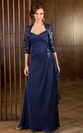 Sequined A-line side-draped Mother of the Bride Dress With Illusion