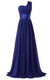 Pleated Satin Ribbon Floor-Length Single-Shoulder Chiffon Dress