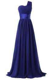 Pleated Satin Ribbon Floor-Length Single-Shoulder Chiffon Dress