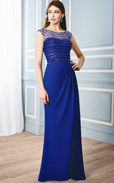 Side-Draped Illusion Back Formal Rhinestone Bateau-Neck Sheath Chiffon Gown