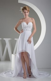A-Line Jeweled Satin Sash High-Low Sweetheart Ruched Dress