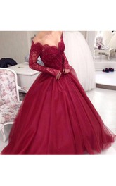 Off-the-shoulder Lace Tulle Long Sleeve Floor-length Appliques Beading Pleats Dress