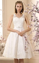 V-neck Sleeveless Knee-length A-line Wedding Dress With Illusion And Appliques
