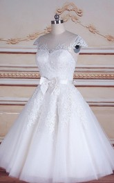 Cap-Sleeve Lace Bridal Short A-Line Satin Tulle Dress