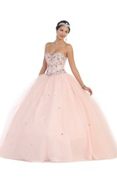 Sweetheart Jeweled Strapless Sleeveless Lace-Up-Back Tulle Ball Gown