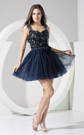 Adorable Strapped A-Line Mini Dress with Flower and Keyhole Back