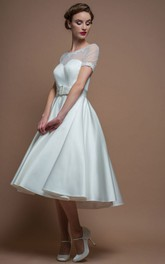 Short Sleeve Satin Scoop-neck Tea-length A-line Dress With Illusion And Appliques