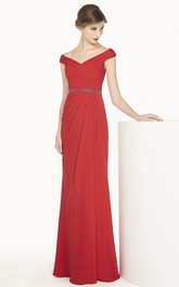 Cap-sleeve Sheath Ruched Long Dress With Embellished Waist