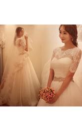 Lace A-Line Crystal Half-Sleeve Elegant Dress
