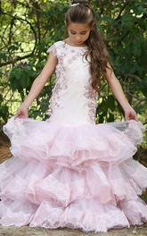 Appliqued Bateau Cap-Sleeve Tier Flower Girl Dress
