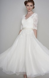 Simple Lace and Organza A-line Half Sleeve Ankle Length Wedding Dress