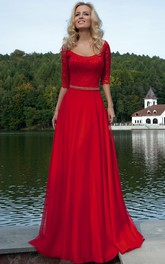 Flamboyant Scoop-neck Half Sleeve Dress With Lace And Embellished Waist