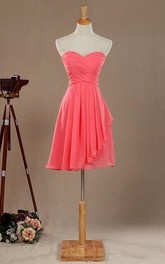 Sweetheart Criss cross Chiffon short Dress With draping