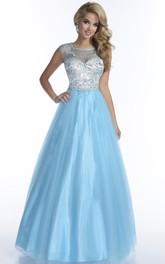 Tulle Formal Cap-Sleeve Rhinestone-Bodice Illusion A-Line Back Dress