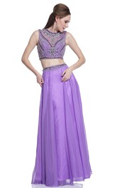 2-Piece Jeweled A-Line Full-Length Sleeveless Scoop-Neck Illusion Dress