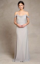 sheer Spaghetti Floor-length Bridesmaid Dress