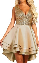 V-neck Satin Sequins Sleeveless Short Low-V Back Homecoming Dress with Tiers
