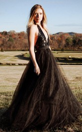 Halter Backless Tulle Dress With Sequins